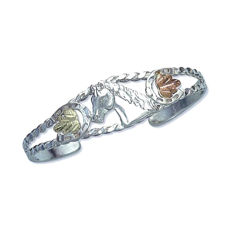Landstroms 174 Black Hills Gold On Silver Cuff Bracelet W