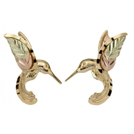 10k Black Hills Gold Hummingbird Post Earrings