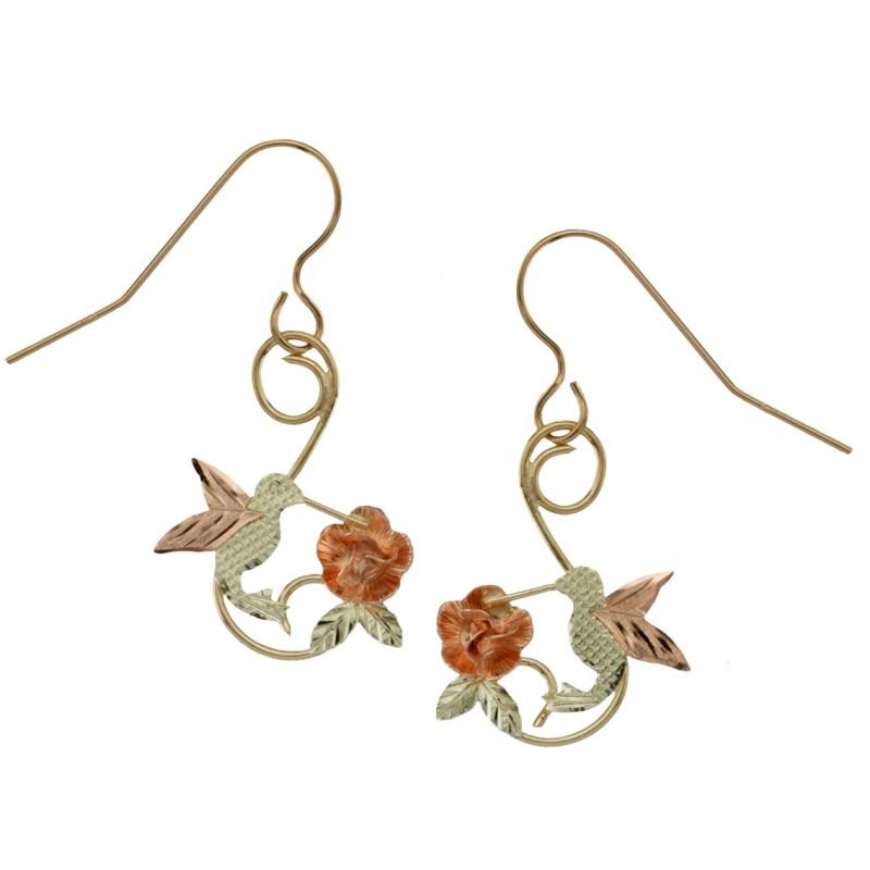 10k Black Hills Gold Hummingbird Earrings