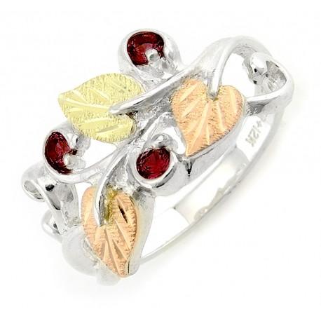 Stunning Black Hills Gold on Sterling Silver Birthstone Ring