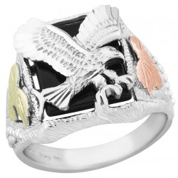 Mens Black Hills Gold on Sterling Silver Eagle Onyx Ring