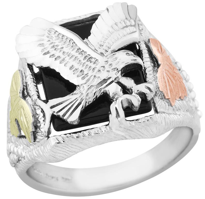 Black Hills Gold eagle onyx ring mens .925 sterling silver