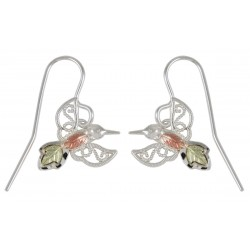 Small Black Hills Gold on Sterling Silver Hummingbird Earrings