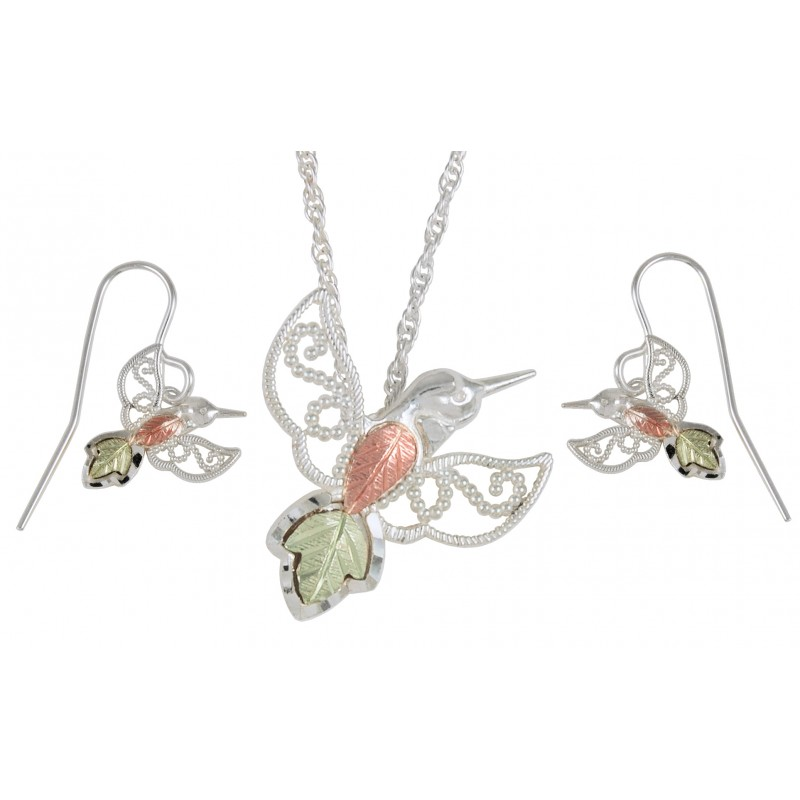 Black Hills Gold On Sterling Silver Hummingbird Earrings Pendant Necklace Set
