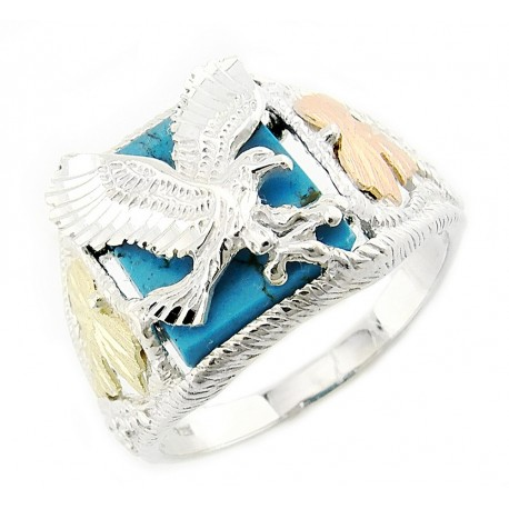 Mens Black Hills Gold Sterling Silver Eagle Ring With