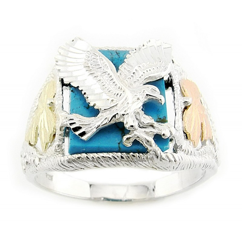 Mens Black Hills Gold Sterling Silver Eagle Ring with Turquoise ...