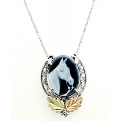 Black Hills Gold Sterling Silver Horse Head And Horseshoe Cameo Necklace Pendant