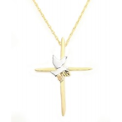 10K Black Hills Gold Cross Pendant with Dove By Landstroms