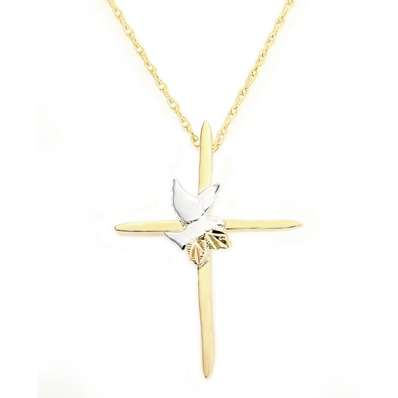 10k Black Hills Gold Cross Pendant With Dove By Landstroms
