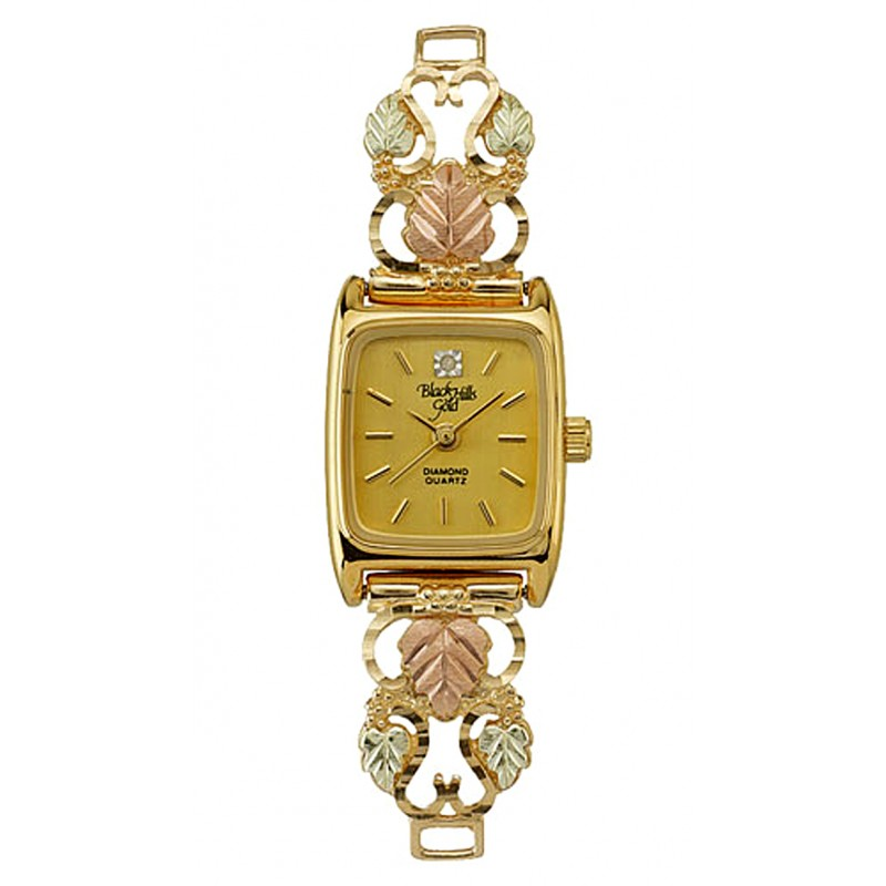 10k Black Hills Gold Ladies Watch With Grape And Leaves