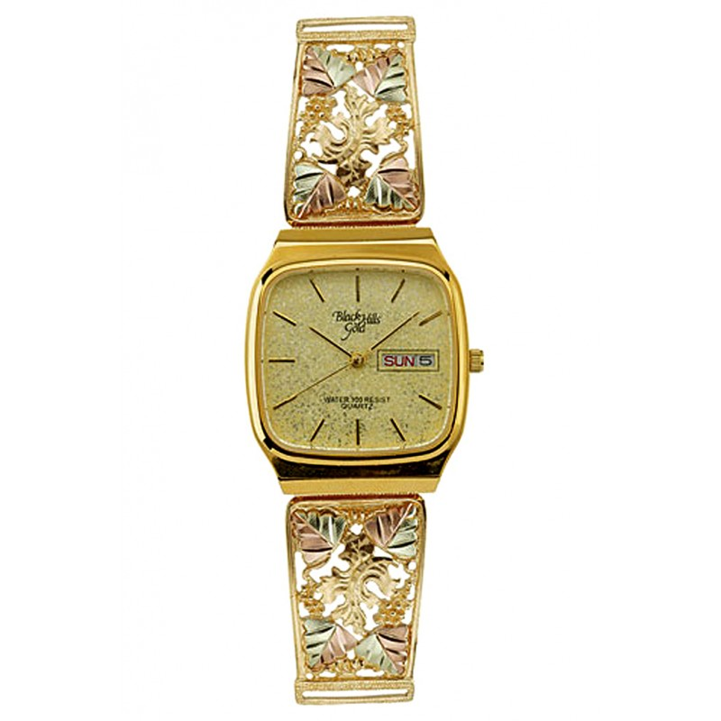 10k Black Hills Gold Mens Watch With Leaves By Coleman