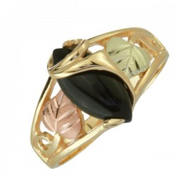 10K Black Hills Gold Ring with Onyx Cabochon