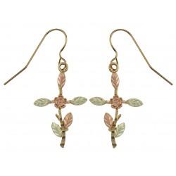 10k Black Hills Gold Cross Flower Earrings