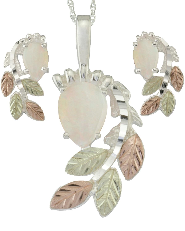 Coleman Black Hills Gold On 925 Silver Genuine Opal Earrings Necklace Set Blackhillsgold Direct Klugex