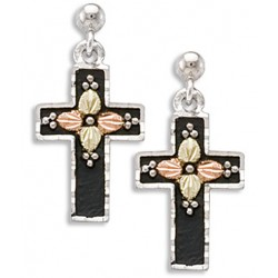 Landstroms Black Hills 12k Gold on Oxidized Sterling Silver Cross Earrings