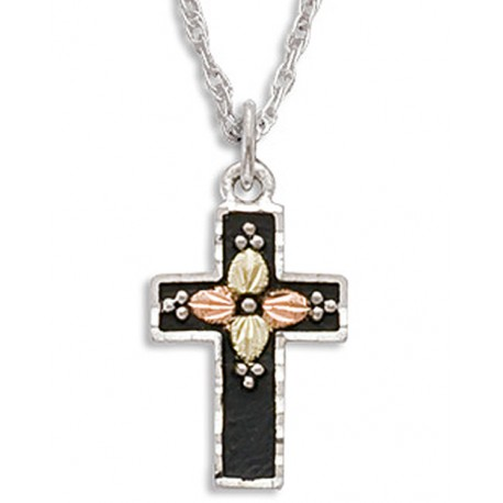 Black Hills Gold on Silver Antiqued Black Enamel Cross Necklace with Leaves