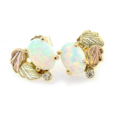 Black Hills Gold Opal Diamond Earrings with Opal