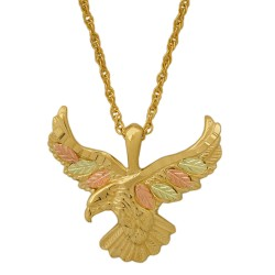 Coleman Tri-Color 10k Black Hills Gold Eagle Pendant Necklace