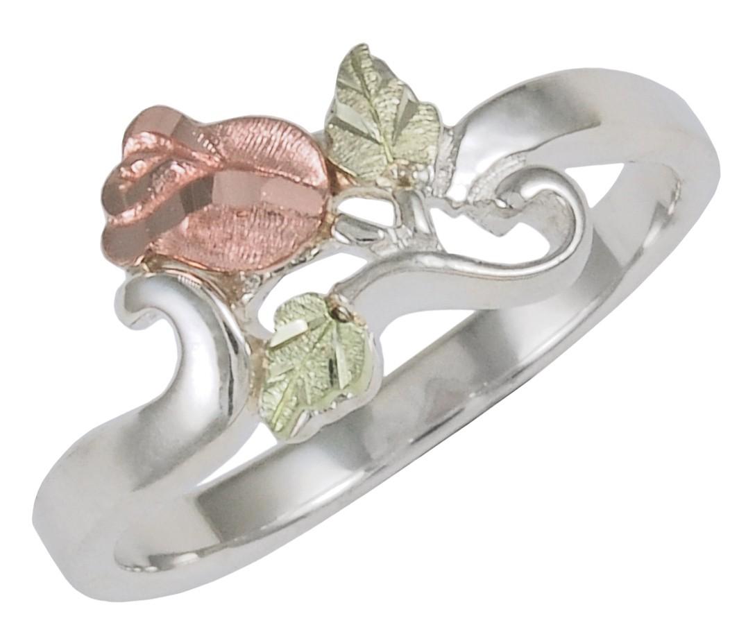 Black Hills Gold on Sterling Silver Rose Flower Ring - BlackHillsGold.Direct - Klugex