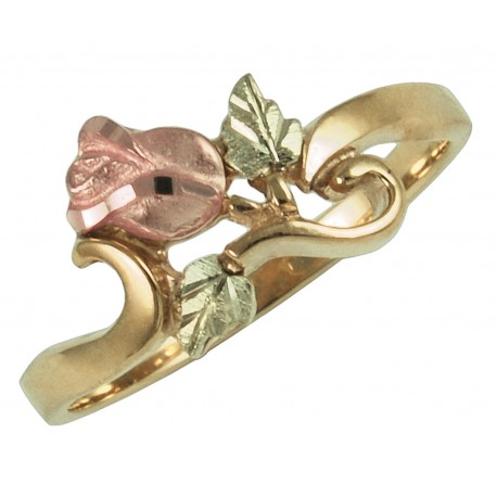 10K Black Hills Gold Womans Rose Flower Ring