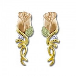 Landstroms 10k Black Hills Gold w/ Diamond Rose Earrings