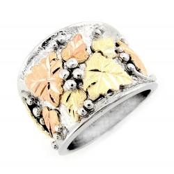 Landstroms 12K Black Hills Gold Leaves on Silver Mens / Womans Unisex Ring - Size 4-14