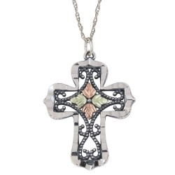Black Hills Gold Silver Ladies Oxidized Religious Cross Pendant