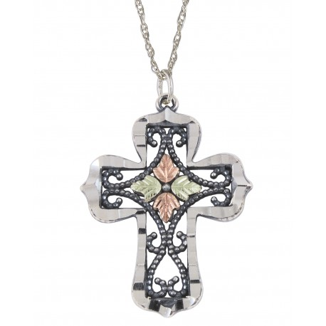 Black Hills Gold Silver Ladies Oxidized Religious Cross Pendant