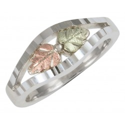Black Hills Gold Sterling Silver Ladies Ring With 12K Gold Leaves