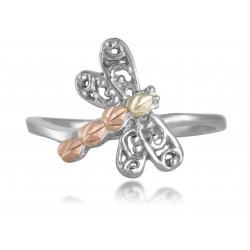12K Black Hills Gold Leaves on Sterling Silver Adjustable Dragonfly Toe Ring