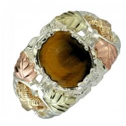 Black Hills Sterling Silver Tiger Eye and 10K Ram Men's Ring