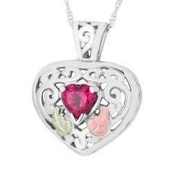 Landstrom's Black Hills Gold on Sterling Silver Genuine Gemstone Heart Pendant