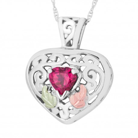Landstrom's Black Hills Gold on Sterling Silver Genuine Gemstone Heart Pendant