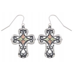 Oxidized Black Hills Gold Sterling Silver Cross Earrings