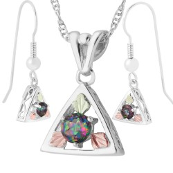 Landstroms Black Hills Gold on Sterling Silver Pendant Earrings Set W/ Mystic Fire Topaz