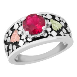 Landstrom's(®) Black Hills Gold on Sterling Silver Antiqued Created Ruby Ring