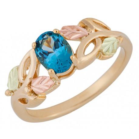 Landstroms Black Hills Gold Genuine Blue Topaz Ring