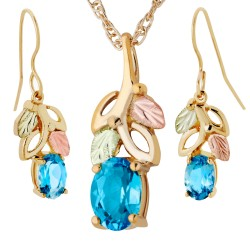 Landstroms Black Hills Gold Genuine Blue Topaz Pendant Earrings Set