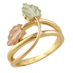 Landstroms Ladies Black Hills Gold Ring with Leaves