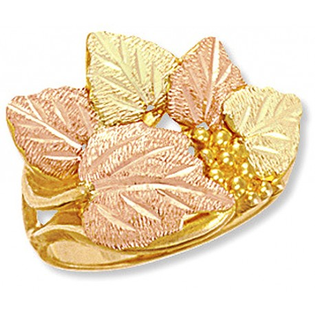 10K BLACK HILLS GOLD LADIES GRAPE LEAF RING