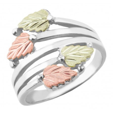 Landstrom's(®)  Stylish 12K Black Hills Gold Leaves on Sterling  Silver Ladies Ring