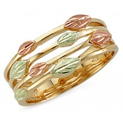 Landstroms Tri-color Ladies Black Hills Gold Ring with Leaves