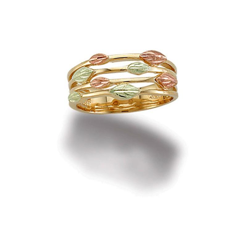 Landstroms Tri-color Ladies Black Hills Gold Ring with ...