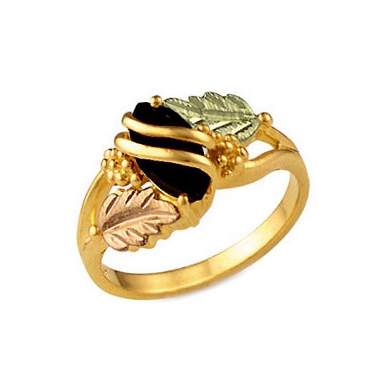 Landstrom\'s® 10K Black Hills Gold Ladies Ring with Onyx ...