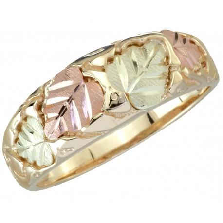 Tri Color 10k Black Hills Gold Men S Wedding Ring With 12k