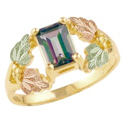Landstrom's® 10k Mystic Fire Topaz Ring With 12K Black Hills Gold Leaves