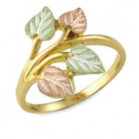 Black Hills Gold Ring with Leaves for Ladies