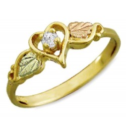 Landstrom's® Black Hills Gold Heart Ring With .05Tw Diamond