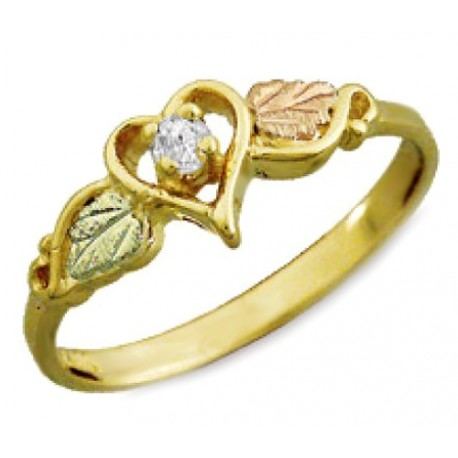 BLACK HILLS GOLD LADIES .05 TW DIAMOND HEART RING