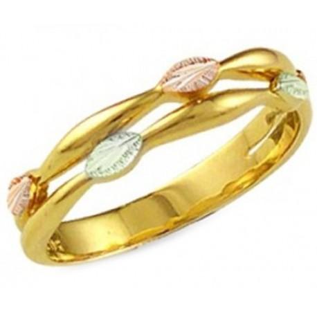 Landstroms Ladies Black Hills Gold Ring with Leaves